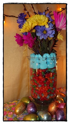Bunnie Peeps & Jelly bean vase